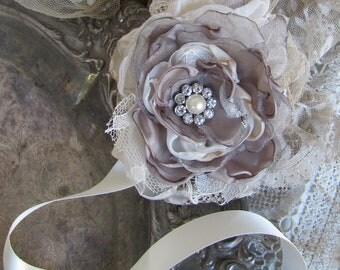 Gray Wrist Corsage, Wedding Accessory, Corsage, wedding corsage, Mother of Bride Corsage, Fabric Wedding Corsage, Bridesmaids Corsage,