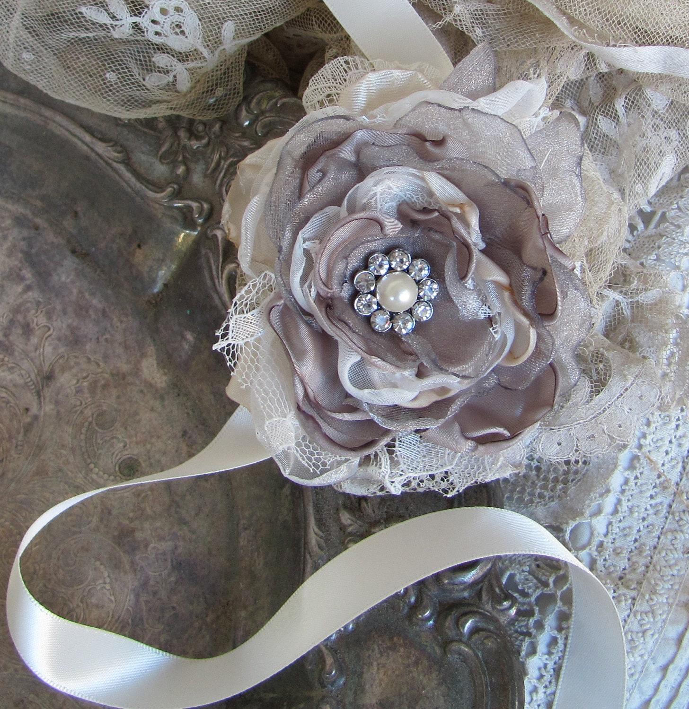 Wedding Corsage: Gray Wrist Corsage Wedding Accessory Corsage Wedding
