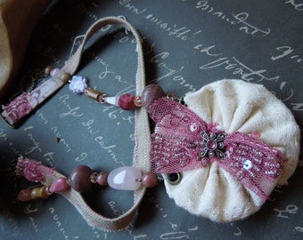Shabby Chic Pink Fabric Necklace with Creme YoYo Fabric Pendant