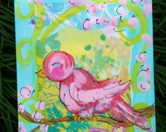 Pretty Pink Bird Original Painting Made To Order