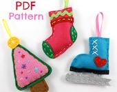 PDF Pattern Felt Christmas Ornaments Xmas Tree Stocking Iceskate Series 1 Hand Sewing Embroidery Cute Felt