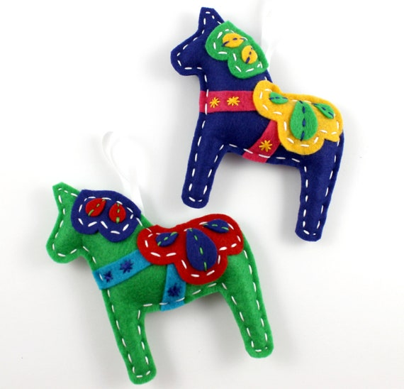 Christmas Tree Sweden: Dala Horse Ornaments. Felt Dala Horse. Christmas Ornaments