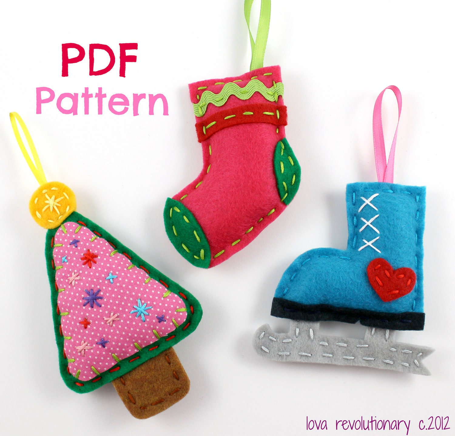 Christmas Ornaments. PDF Pattern. Felt Ornaments. Digital