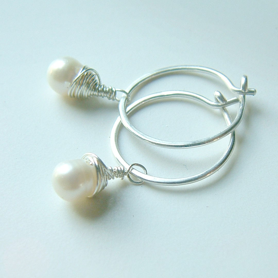 small silver hoop earrings wire wrap pearl dangle hoops eco. Black Bedroom Furniture Sets. Home Design Ideas