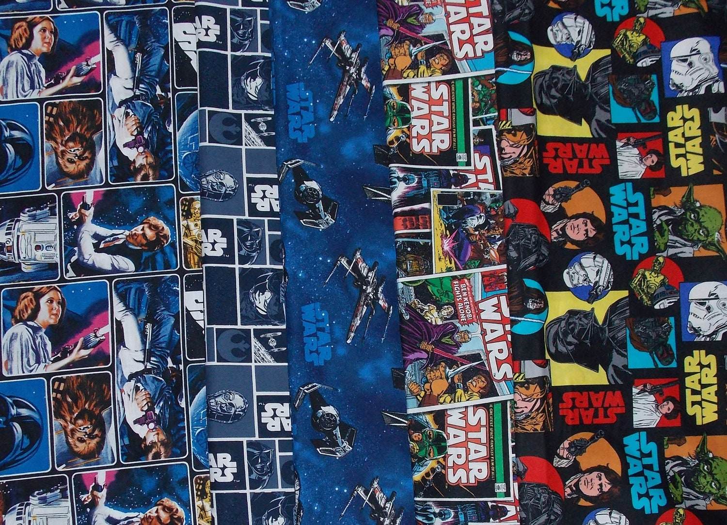 Star wars fabric by the half yard set of 5 for Star wars fabric