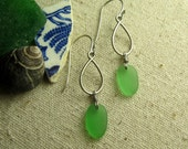 Emerald Green Sea Glass Earrings - Genuine and Eco Friendly - Recycled Sterling Silver