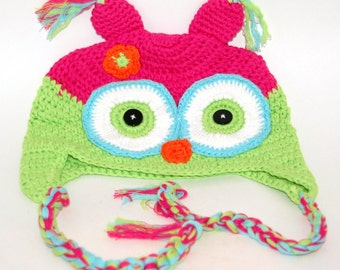 Crocheted Pink Owl Hat
