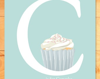 Nursery Decor, Childrens Wall Art, ABCs, C is for Cupcake is for Custom Name, nursery wall art alphabet print
