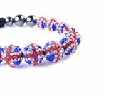 Union Jack Beaded Bracelet, British Flag Jewellery, Celebrity Style Jewelry, UK Flag, Macrame Friendship Bracelet