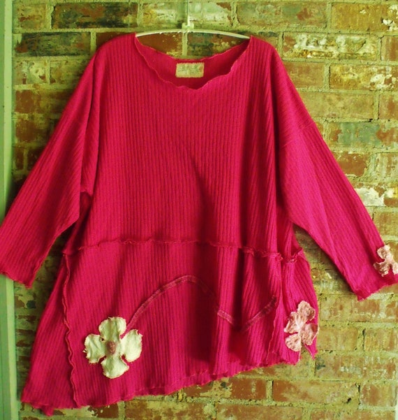 Plus Size Hot Pink Patched, Asymmetrical, Drapey, Oversized, Soft, Stretchy, Flower Power Tunic