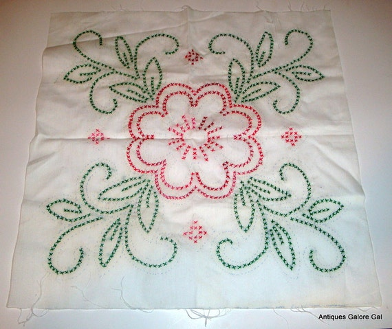 Vintage cross stitch embroidery fabric panels unfinished