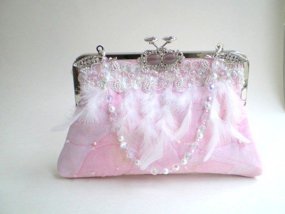 20% COUPON, pink bridal clutch, wedding clutch, evening bag, winter wedding, Victorian, Gatsby, New Years Eve, flapper, prom, pink