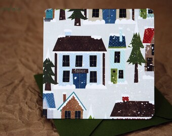 Blank Mini Card Set of 10, Holiday Winter Village Design with Contrasting Design on the Inside, Pine Envelopes, mad4plaid