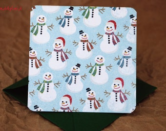 Blank Mini Holiday Card Set of 10, Mini Snowmen with Contrasting Polka Dots on the Inside, Metallic Green Envelopes, mad4plaid on Etsy