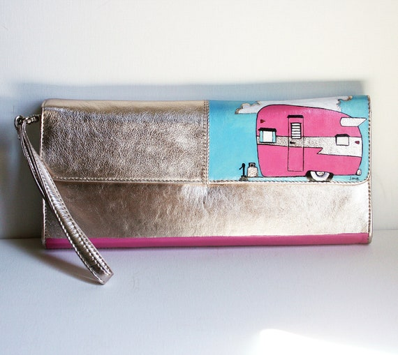 Vintage Camper Leather Clutch-Hand Painted Shasta Trailer Bag-Silver Pink Turquoise OOAK