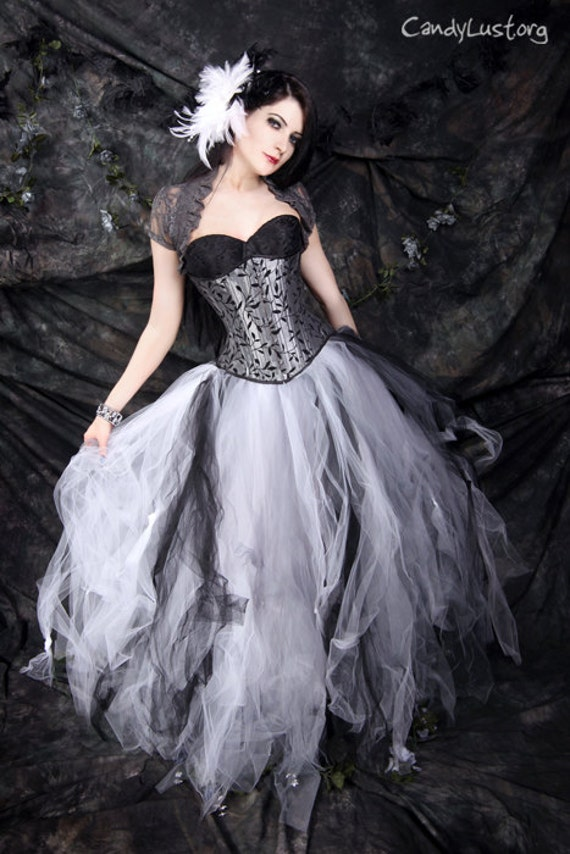 Gothic Bridal skirt floor length tulle tutu skirt in Black White and Silver any size MTCoffinz