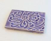 Soap Dish in Stoneware with Chrysanthemum Pattern in Lavender Purple Glaze
