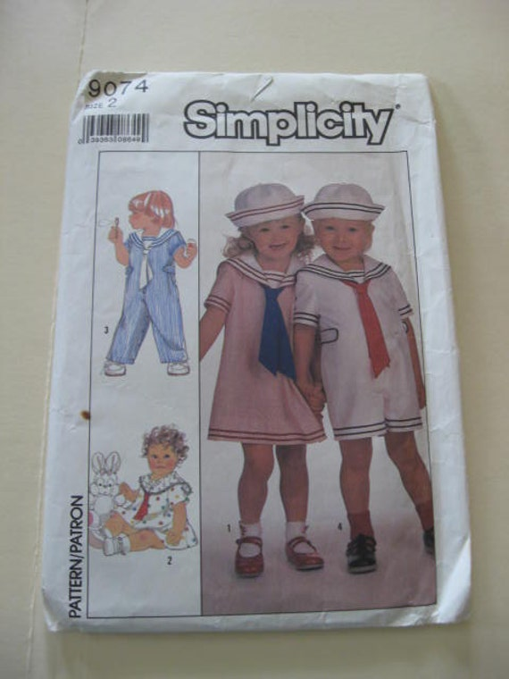 Vintage - Simplicity  Pattern No. 9074 Toddler Size  2