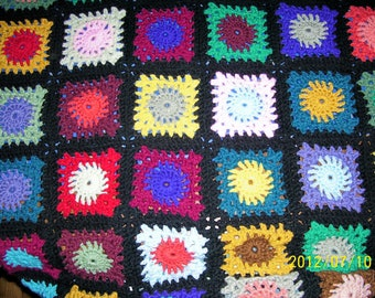 hand crochet  granny square afghan lap size 54 X 54 multi color and black