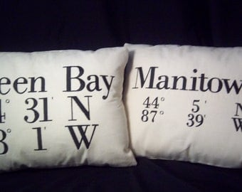 Custom Embroidered Longitude and Latitude Coordinates Pillow