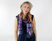 Felted scarf with lace navy mustard and plum autumnal colours