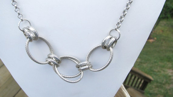 Three Rings Silver Long Necklace
