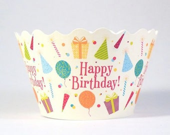 Cupcake Wrappers - Birthday Party Hats  Includes 12