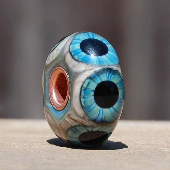 Glass Eyeball Bead - Big Hole Bead - BHB - Copper Lined Handmade Lampwork Glass Focal - SRA