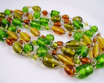 Vintage 70's Long Green, Amber and Brown Glass Bead Necklace, 70's Art Glass Necklace, Green Necklace,57 inch Vintage Art Glass Necklace