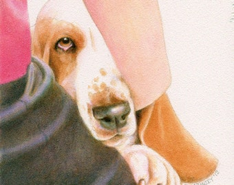 Basset Dog Show Art Signed Print Free Matching Card