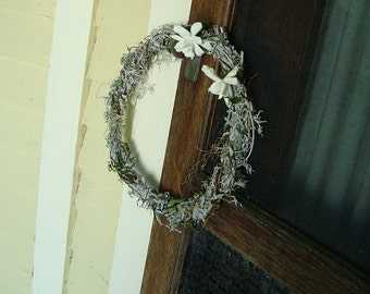 Silvery Wreath, Decorative Wall Hanging, Mossy, Artemisia, Cottage Wedding, Handmade, Lamb's Ear
