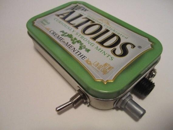 Mint Tin Pocket Guitar Amp, Headphone Amp, MP3 Amp w/ Speaker, Volume Control, & 10X Gain (Creme de Menthe Altoids)