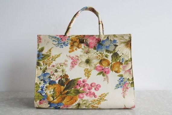 Vintage Margaret Smith Bag . Linen . Floral Handbag . Purse . 1960s