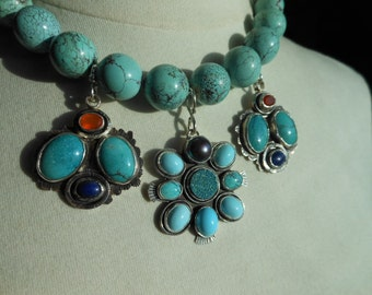 """Large Turquoise Bead Necklace Three Removable Pendant/Enhancers 18"""" to 19 1/2"""" Hand Knotted Silk Thread Turquoise Teal Blue Orange"""