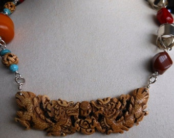 """Double Dragon, Carved Bone, Turquoise, Red Coral, Copal, Agate,  Sterling, 25"""" long, DSL Makers Mark, Turtles,"""