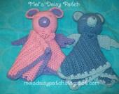 Angel Bear Snuggle Blanket / Security Blanket Crochet Pattern PDF