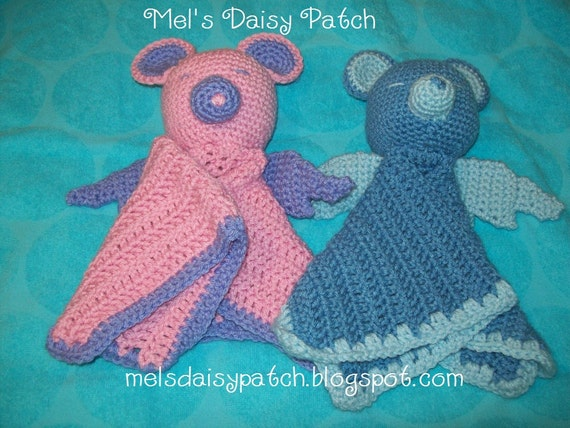 Angel Bear Snuggle Blanket / Security Blanket Crochet Pattern PDF