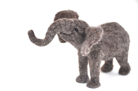 Baby Elephant - Needle Felted Wool African Elephant sculpture