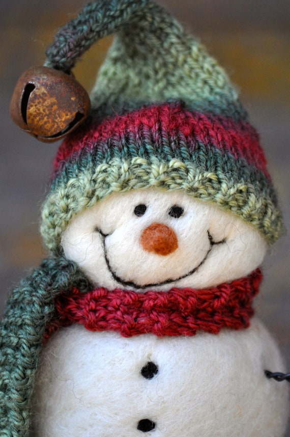 Snowmen - Wool Needle Felted Snowman - Christmas - 118