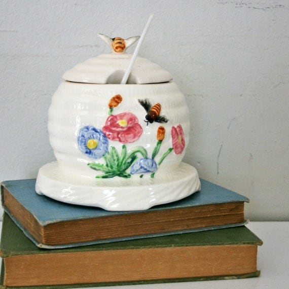 vintage 50s Ivory Bees and Wildflowers Honey Pot in Original Box