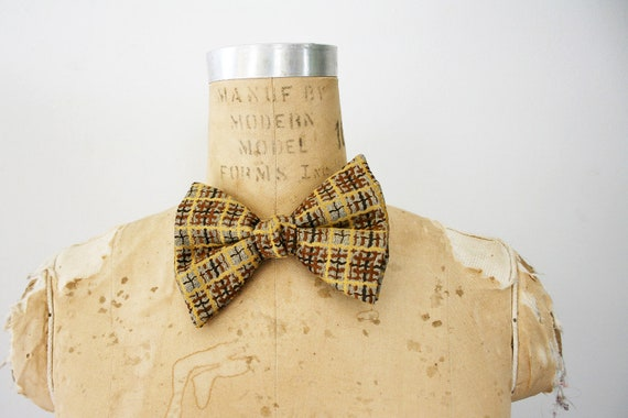 ON HOLD vintage Caramel Yellow and Chocolate Brown Plaid Big Bow Tie