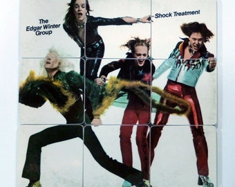 The EDGAR WINTER GROUP upcycled Shock Treatment album cover coasters and record bowl