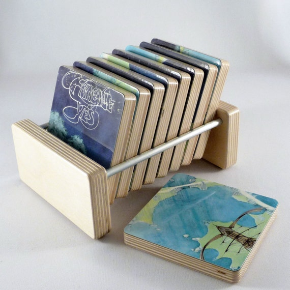 YES - Record Album Coasters from the Fragile Album complete with Handmade Holder