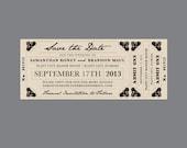 Rustic Save the Dates Vintage Victorian Edwardian Antique Flourish Corner Rustic Train Ticket Wedding Save the Dates