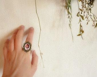 SHIPS AUGUST 3th - Matryoshka Cameo Ring - Romantic Jewelry - Art doll romantic pink rose girl neutral stoking stuff
