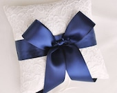 Navy and Ivory Alencon Lace Ring Bearer Pillow with Satin Bow