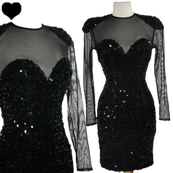 Vintage Dress 80s 90s Black SEQUIN Body Con Cocktail Party PROM Dress XS S Sheer Mini