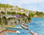 Sorrento Italy watercolor art  print Hotel Bellevue Syrene