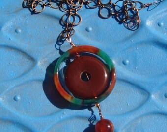 Brazilian Agate and Carnelian on Copper Chain Necklace   Boho Jewelry  Agate Necklace   Carnelian Necklace  Chain Necklace