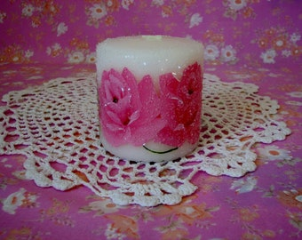 Pillar Candle Hand Painted Pink Roses, Glass Glitter